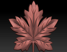 Maple leaf 3D printable model bas-relief