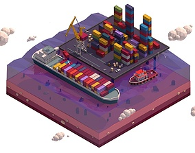 3D Cartoon Low Poly Lowpoly Seaport