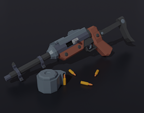 3D asset Post apocalyptic self-made sub-machinegun Low 1