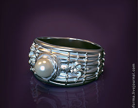 3D printable model The Om mantra ring with pearl and video