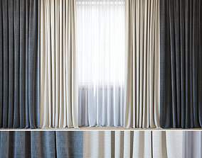 3D model pattern Curtains with tulle set 07