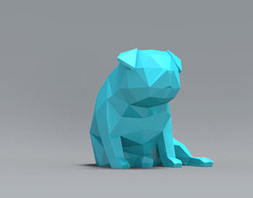 funny Low Polygon Pug dog model