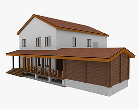 3D model Simple Woodframe House 2