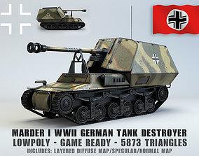 Low Poly Marder I tank destroyer 3D model realtime