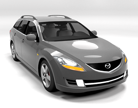 3D model game-ready MAZDA 6 ESTATE 2009 LOWPOLY
