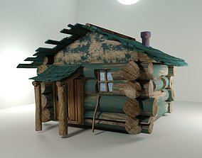 Wooden Cabin with mini roof 3D model