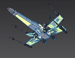 X wing t-65 spaceship fighter 3D