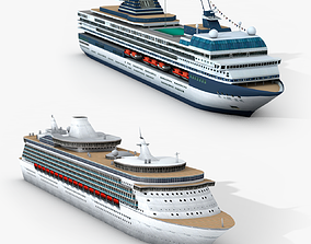 Two Cruise Ships 3D asset