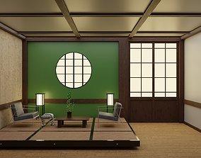 Japanese Living Room Interior 3D asset