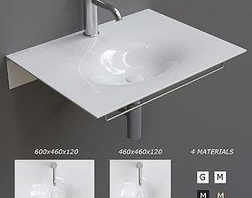 Scarabeo Ceramiche Veil Wall-mounted Washbasin 3D asset