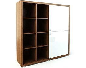 Wooden Storage Shelves With White Doors 3D model