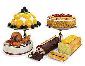 Orange cake collection 5 3D