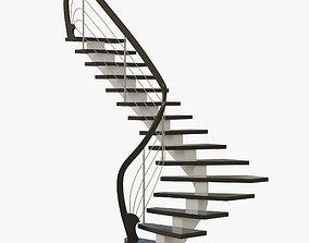 3D model modern angular staircase