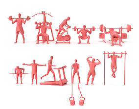 Low Poly Posed People Pack 21 - Gym and Fitness 3D asset