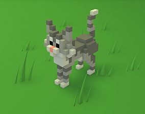 3D model Voxel Cartoon Cat game ready