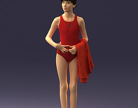 3D Girl in red bathing suit with a towel 0161
