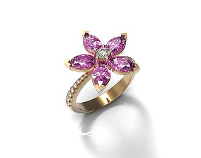 Marquise Pink Sapphire Ring 3D printable model
