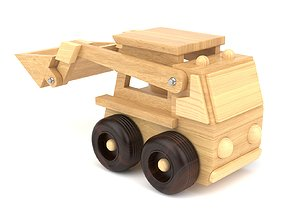 3D Wooden toy bulldozer 07
