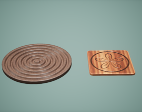 Coaster Set Low Poly Game Ready 3D model