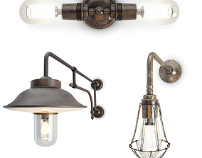 Industrial Wall Lamps 3D