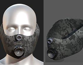 Gas mask helmet 3d model scifi low-poly 1