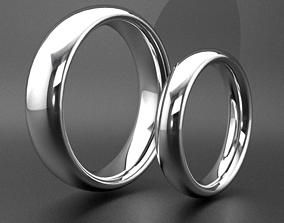 3D print model Thick classic wedding rings bands gold