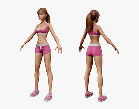 Cartoon Sport Girl 03 3D model
