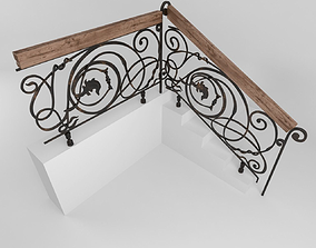 Stair railing fence 3D model