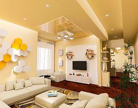 living room vray clear scene 3D model