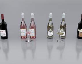 4 Wine Bottles 3D model