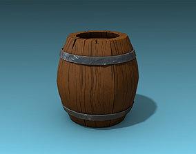 Stylized Barrel 3D model game-ready