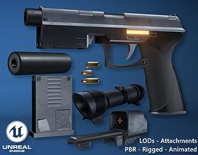 Futuristic Handgun 3D model animated