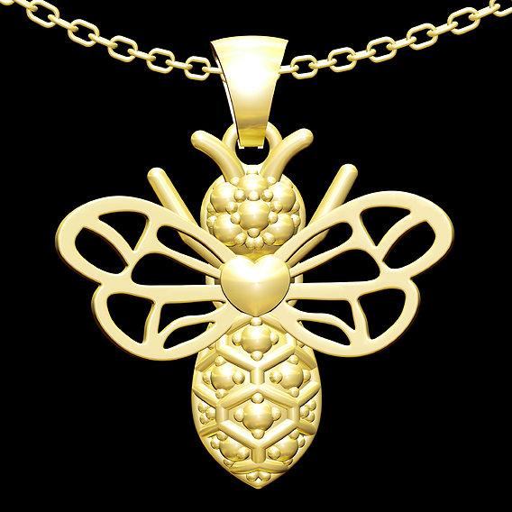 Bee Pendant jewelry Gold 3D print model
