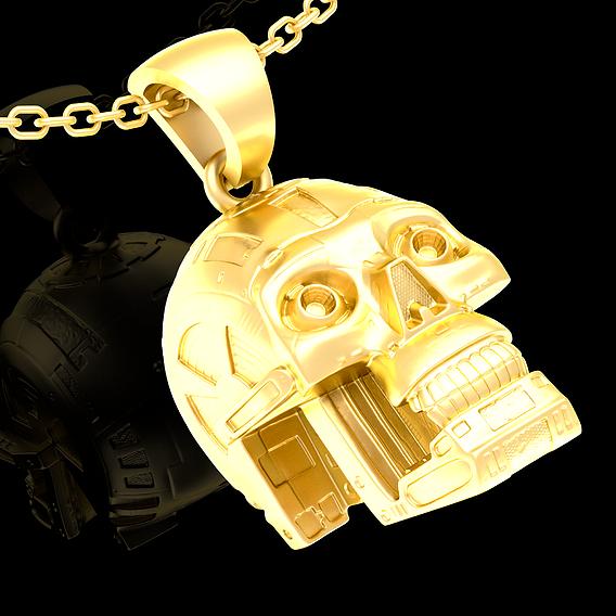 Robot Skull pendant jewelry gold 3D print model
