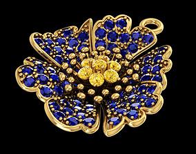 Nice flower pendant with diamond or 3D printable model 1