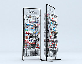 low-poly Newspaper - Magazine Stand 3D model