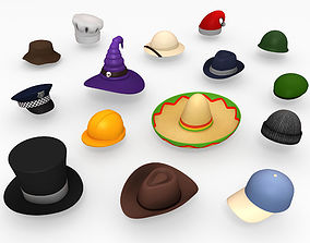 3D asset VR / AR ready Hat Pack