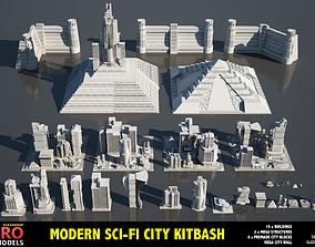 MODERN SCI-FI BUILDINGS KITBASH 3D model