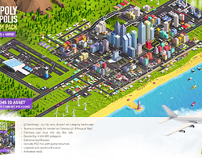3D model Low Poly Megapolis City Premium Pack