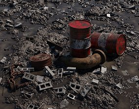 3D model Muddy Junkyard Blender Scene with Props and