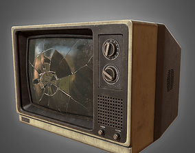 3D asset Retro Busted Television - PBR Game Ready model