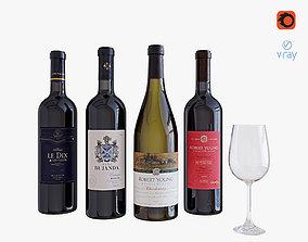 Wine bottle set 4 3D model