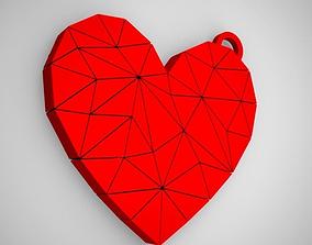 3D printable model Polygonal Heart Keychain