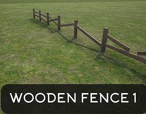 Modular wooden fence 3D model garden