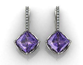 PRINCESS PURPLE GEM EARRINGS 3D print model