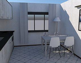 Kitchen Low Poly 3D model VR / AR ready