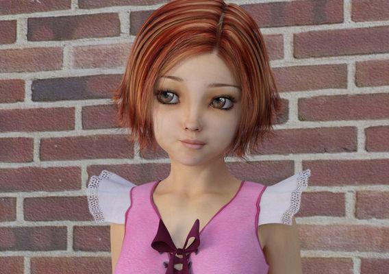 Big Eyes Cartoon Girl