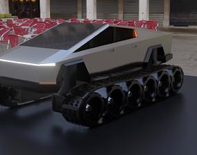 3D asset low-poly Tesla Cybertruck