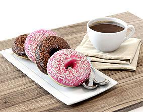 Coffee shop Donuts set 02 3D model
