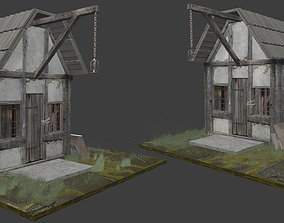 game-ready Haunted 3D building